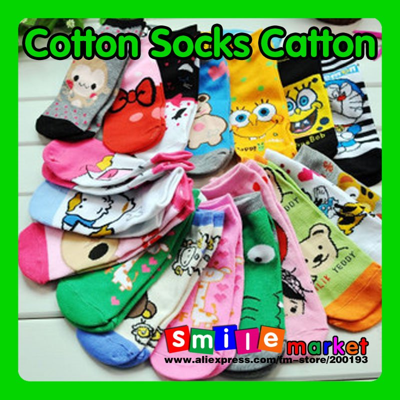 Hot!!! Free Shipping 8pairs/lot  Fashion Lovely Women Cartoon Cotton Socks  in Autumn and Winter(Random send styles)