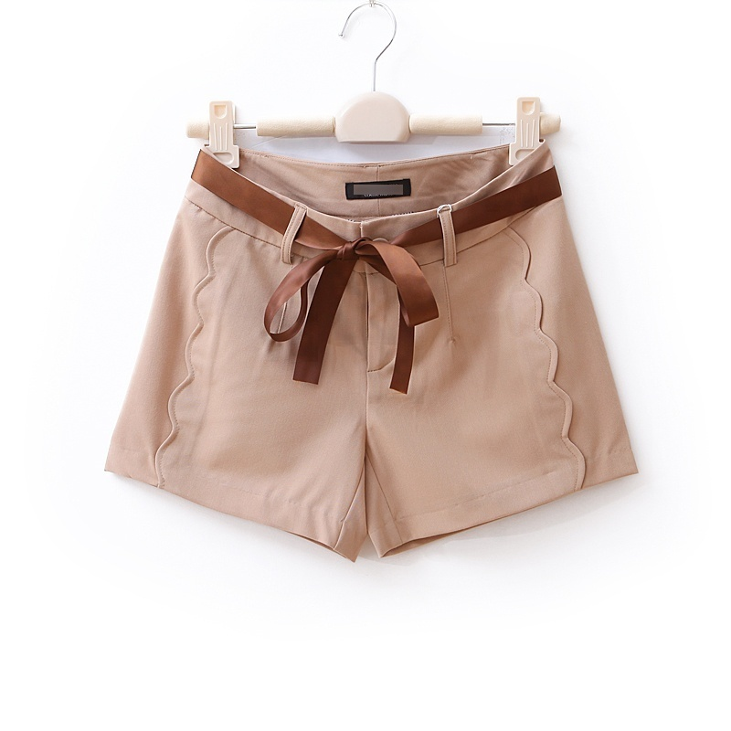 Hot new AMIO high quality wave hem casual shorts women's single-shorts wd689 silk ribbon Olandstar