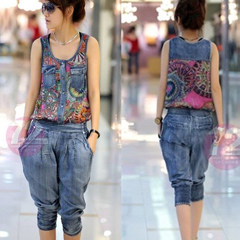Hot!New arrival free shipping geometric pattern women summer denim overalls vest jumpsuits women rompers lady casual loose jeans