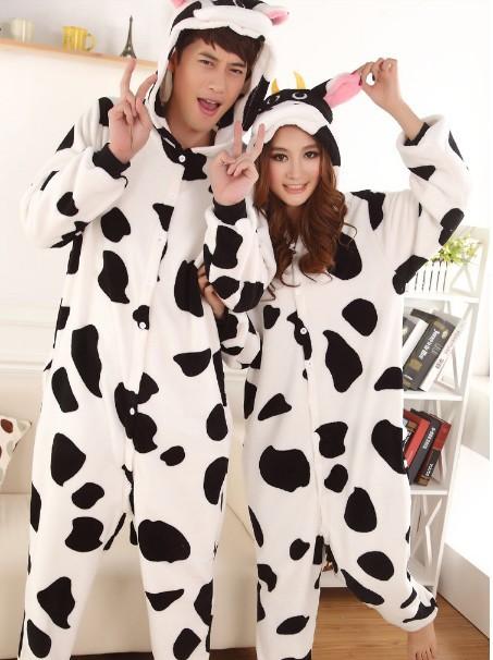 Hot! New Kigurumi Lovers Style Cows Cartoon Anime Pyjamas Jumpsuits Soft Homewear Valentine's day gift