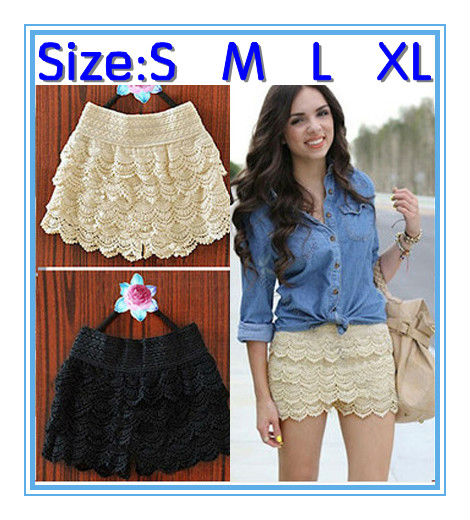 HOT! New Sexy Fashion Mini Lace Tiered Short Skirt Under Safety Pants S M L XL