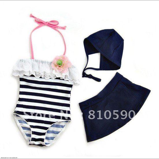 HOT promotion brand  (5 pcs/lot )Black and white striped flowers girls piece swimwear + swim cap Free shipping