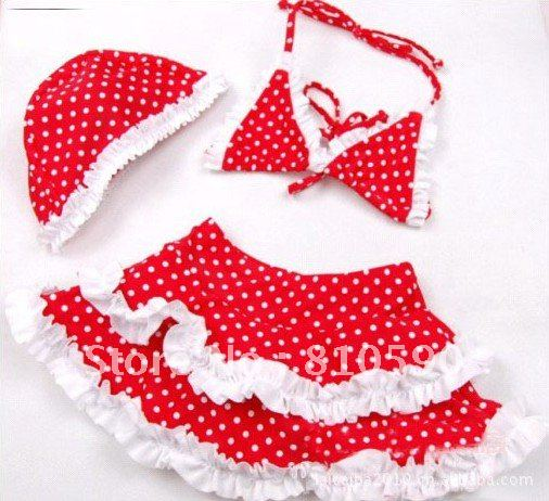 HOT promotion brand 5pcs/lot Red with white spots wave girls swimwear + swim cap Beach clothes Free shipping