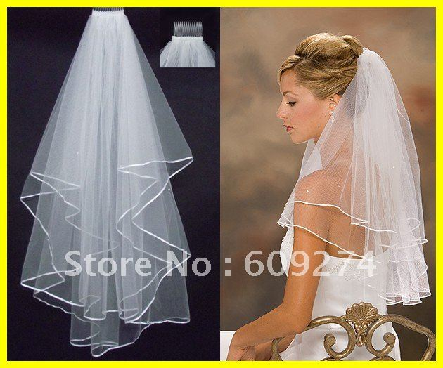 Hot Sale 2012 In Stock Two Layers White Ivory Veils Tulle Pearl Ribbon Edge Comb Wedding Veil Bridal Accessory