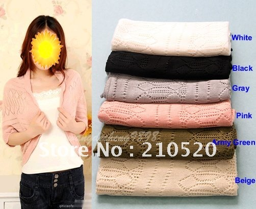 Hot Sale ! 2012 New Fashion Korea Women's Hollow Sweater Shawl Shrug Jacket Knitwear Batwing Cardigan