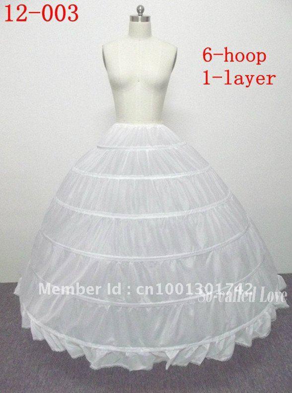 Hot sale 30% off Free shipping Ball Gown 6 hoop 1 Tier Crinoline Floor-length Slip Wedding Bridal Petticoats