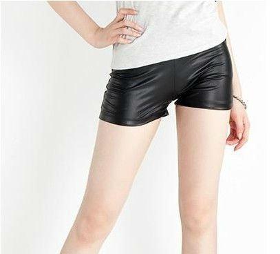 Hot sale Black Stretch Leather Look Short Tights Pants free Size ,wholesale 10pcs/lot