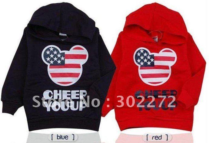 Hot sale boys girls mickey USA flag hoody kids cartoon sweatshirt childrens long sleeve hooded top clothes navyblue hoodies 4pcs