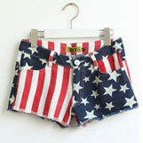 Hot sale! Free shipping Classic American flag five-pointed star stripe denim hot pants shorts