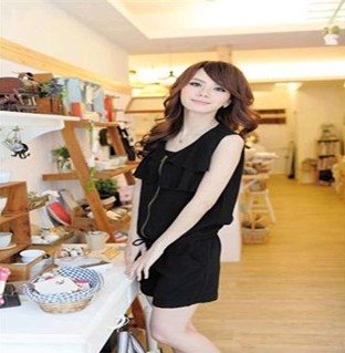 Hot Sale! New Style Sweet Colors Chiffon Korean Ruffles Fashion Women's Jumpsuits 3303#