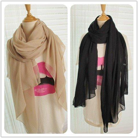 Hot sale !Plain Color  Women Voile Scarf /Shawl/hijab/muslim scarf 180*110cm Big Wrap Soft touching  Wholesale