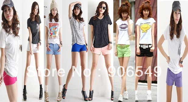 Hot Sale Summer Women's Colorful Candy Jeans Pencil  Shorts  Lady's Hot Pants