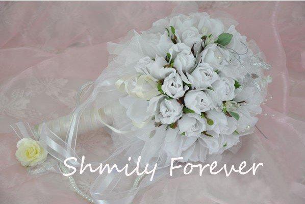 Hot sale!!! White Romantic Rose Flower Bouquet,Wedding Bridal Bouquet,Bridesmaid Bouquets