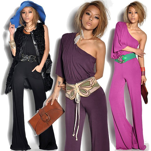 Hot Sale Women Fashion Sexy Long One-Shoulder Black Solid Ice Silk Jumpsuits/ Ladies Jumpsuits  Free Size C207