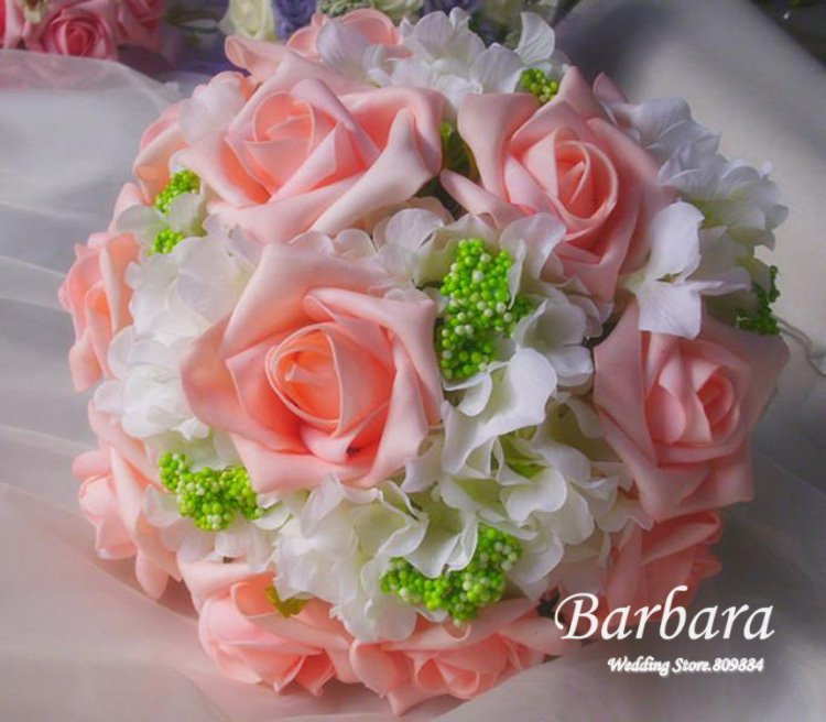 Hot Sales!   Wedding/Bridal bouquet 12 Large rose White ball-flower  Simulation Artificial flower Free shipping