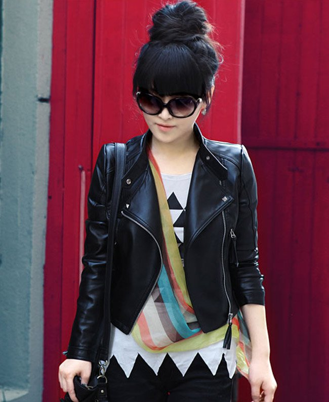 Hot  sell  2012  New fashion  Women's Zipper PU Leather  / ladies' jacket ,Store NO 413092