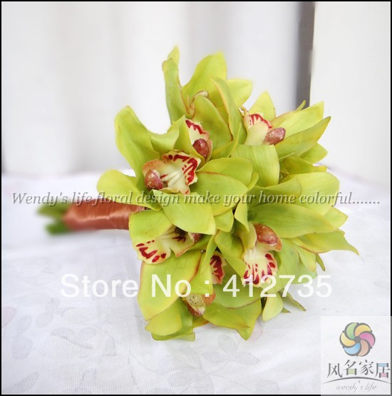 Hot sell bride flowers bouquet,High simulation silk flower, Green orchids,decorative flowers with ribbon handle