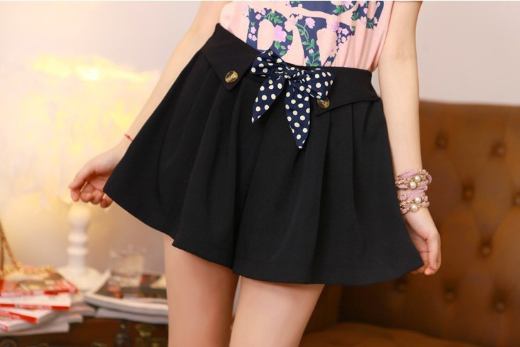 HOT SELL!Classic Leisure Skirt pants Vintage Funny Dot High Bow Hot Pant 5 Colors Pants Korea Design Trousers