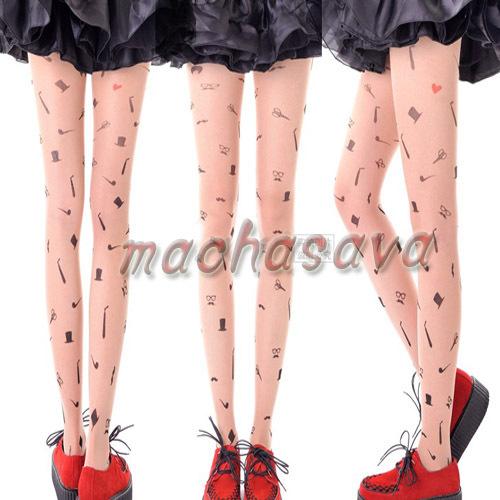 Hot Sell!! Fashion Gentleman Transparent Tattoo Tights Leggings Pantyhose Stockings