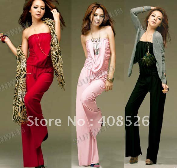 Hot Sell New 2012 Fashion Super Sexy Ladies Tube Romper Cat Suit Sleeveless Strapless Jumpsuits free shipping 3686