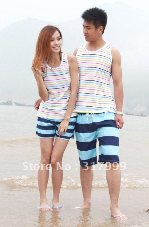HOT SELL !!Sexy Couple beach pants Short beach wear Set B025