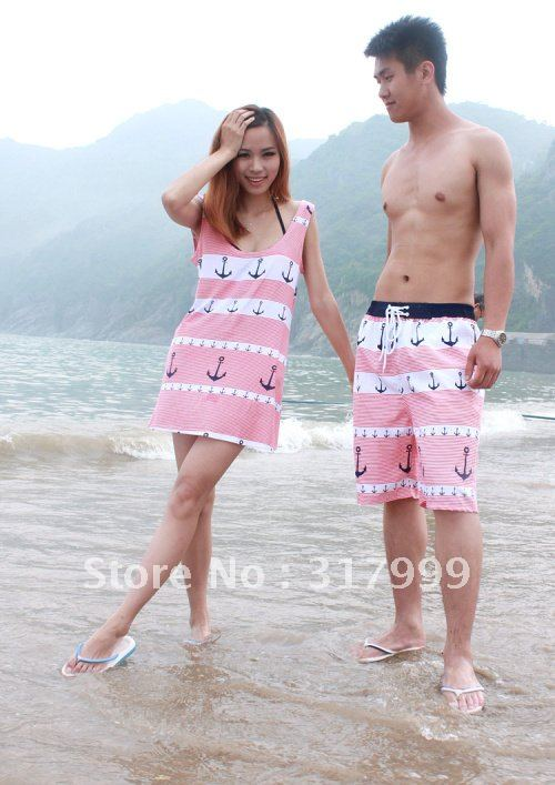 HOT SELL !!Sexy Women Pirate Style Skirt and Men's beach pants Set B011