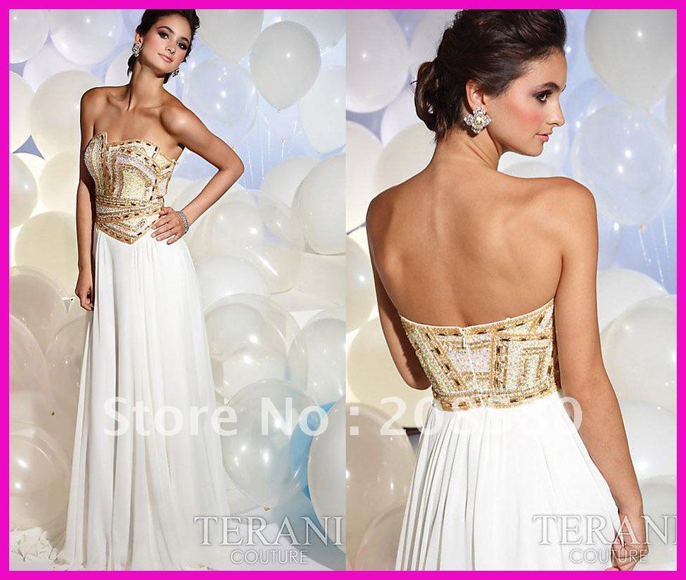 Hot Sell Strapless Beaded Gold Sequins Long Chiffon Evening Prom Dresses E1015