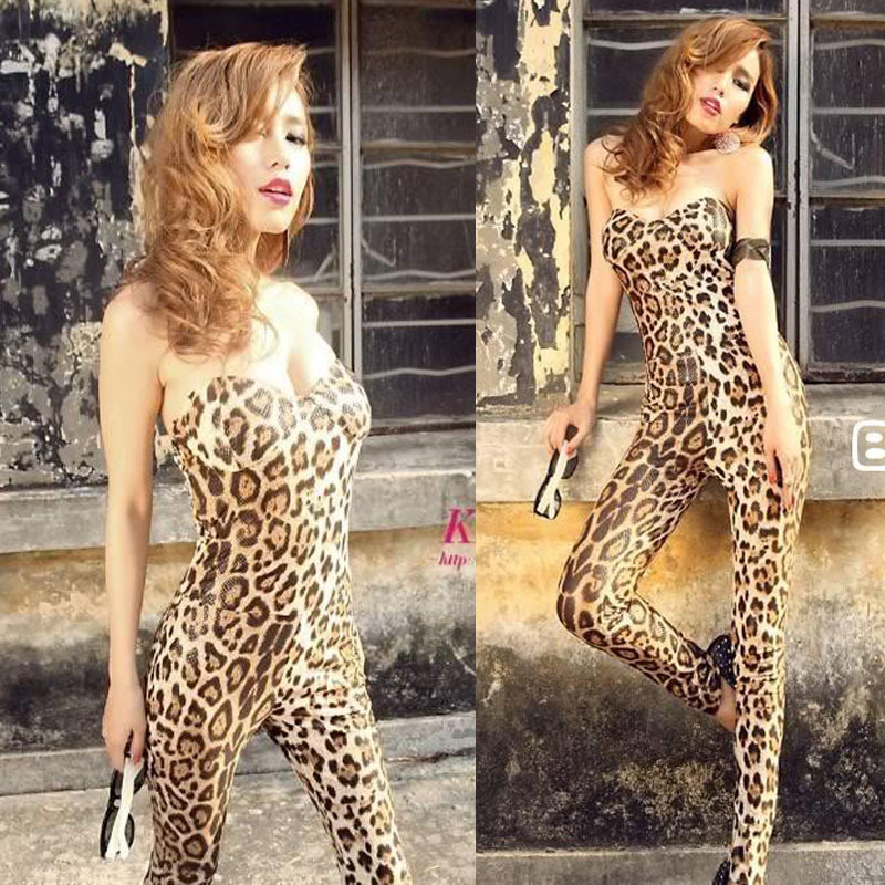 Hot Sell Women Lady Leopard Sexy Club stretchy Wrapped chest Jumpsuit.Fashion Padded bra cups Skinny Jumpsuit.(Free Shipping)