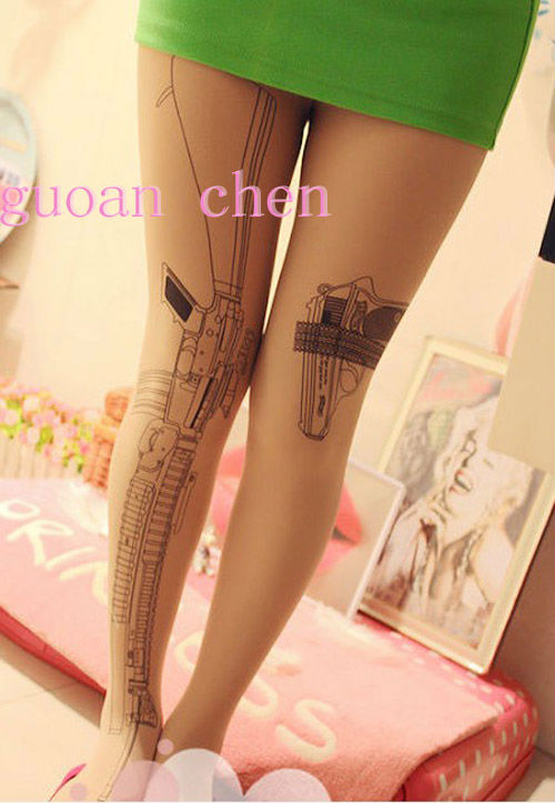 Hot Sell Women's Sexy New Cross Pantyhose Transparent Tatto Tights Leggings Pantyhose Stocking