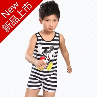 Hot-selling 2012 child swimwear one piece surfing suit sun protection clothing MICKEY stripe male child swimming equipment