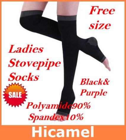 Hot Selling 2012  Stovepipe Socks 2 Colors Fashion Polyamide 90% High Knee Burning Body Control Varicose Veins Stovepipe Pants