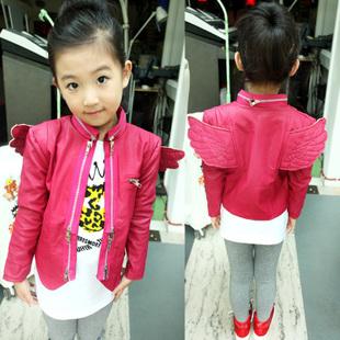 Hot selling 2013 autumn baby girls fashion black rosy leather clothing PU motorcycle jacket coat outerwear angel wings coat
