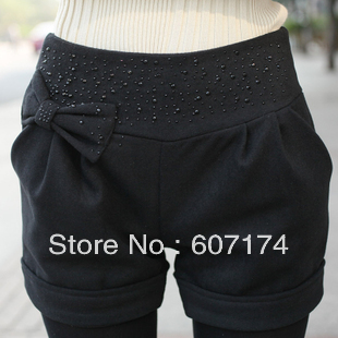 Hot-selling autumn and winter all-match woolen shorts ladies boot cut jeans roll-up hem slim shorts Size:S-XXXXL #2342