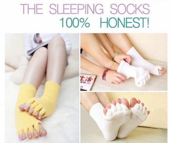 Hot Selling Sleeping Socks Massage Five Toe Socks Foot Alignment Treatment Socks 100% Honest White 50pair