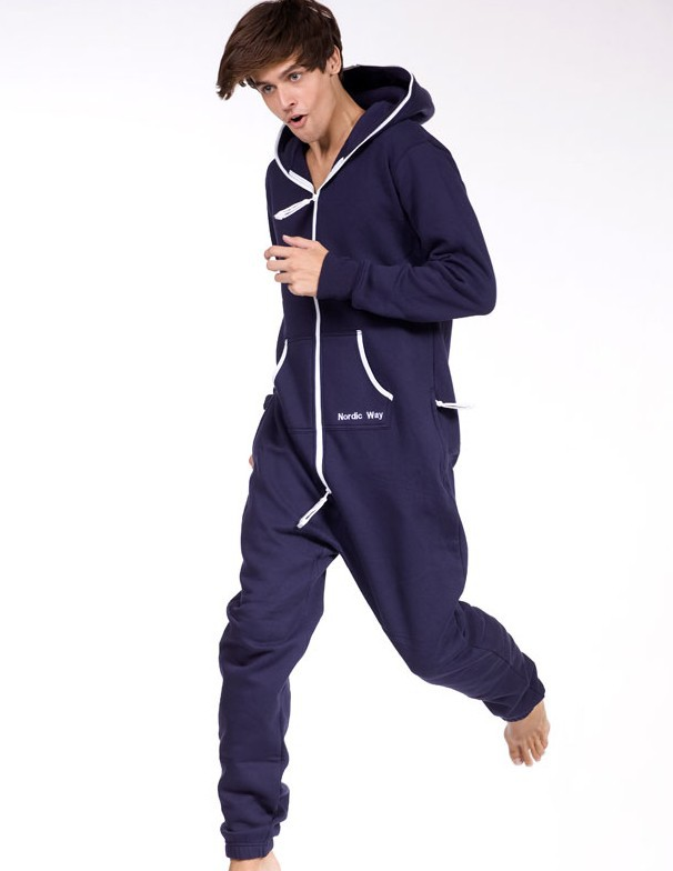 Hot! Solid Navy Blue Jumpsuit / Adult Fleece Hoodies / joined body suit / Oversize / Unisex Style+ Fedex Free Shipping  E300-56