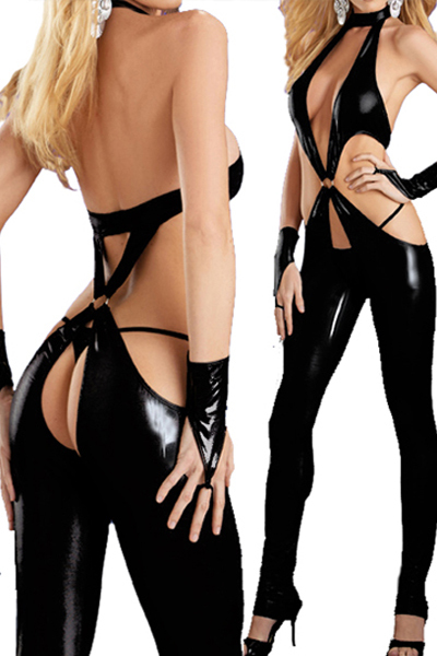 HOT STYLE!  Coquettish! Black Catsuit Open Crotch PVC Leather Sexy Bodysuit for Women LB1214