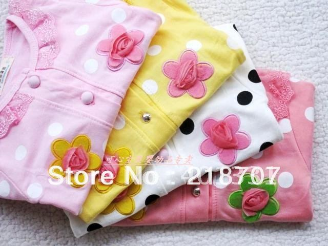 Hot Sweet flower girls long-sleeved coat/contracted girls coat/children clothing/baby clothes