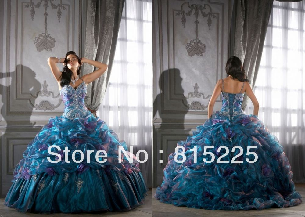 Hot Upscale Gorgeous Ball Gown Sexy Spaghetti Straps Quinceanera Dress Prom Bandage Embroidery Sequin Bodice Pleat Satin Organza