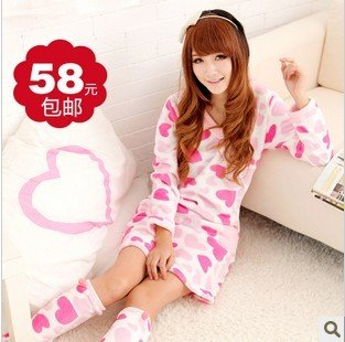 Household to take qiu dong set nightgown coral flocking lady lovely nightgown long-sleeved princess palace