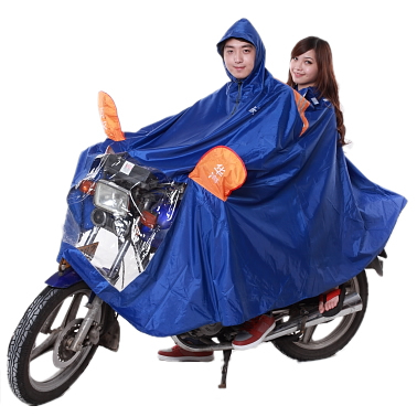 Huahai long hat brim motorcycle raincoat electric bicycle raincoat double poncho ride fashion thickening plus size