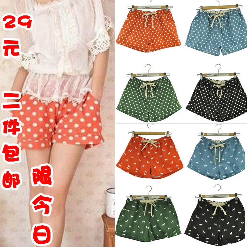 Hx shorts female candy color polka dot denim cotton shorts dot onta loose roll-up hem basic short skorts free shipping