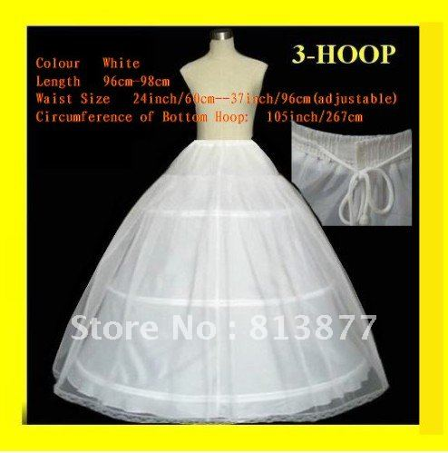 In stock 2012 3Hoops 1T Wedding Accessories Petticoat Adjustable Waist for Ball gown Wedding Dresses