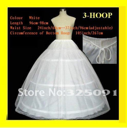 In stock 2013 3 Hoops 1T Wedding Accessories Petticoat Adjustable Waist for Ball gown Wedding Dresses High Quality Custom Made