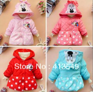 in  stock  2013 children's clothing cotton-padded jacket girl's minnie mouse coat dot circle outerwear