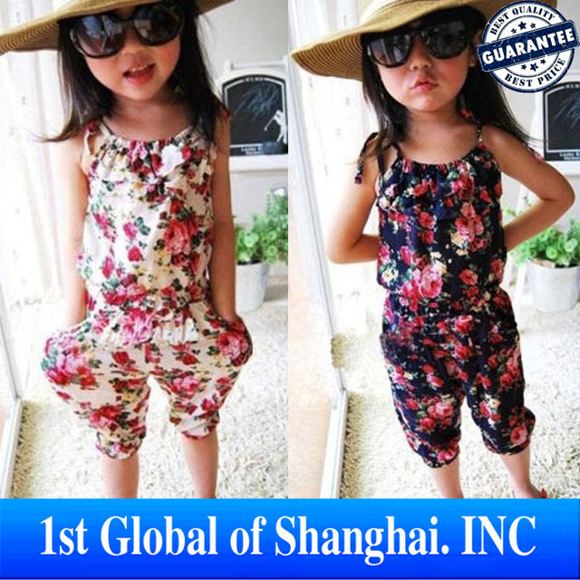 In Stock Baby girl's summer Jumpsuits floral overalls suspender pants for girls
