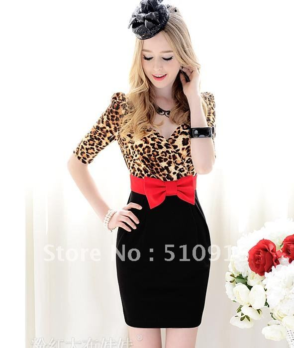 In the summer of 2012 new leopard grain with red bowknot spell black cultivate one's morality in tight sleeve dress
