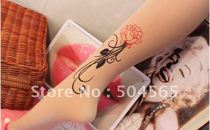 IRIS Knitting LG-043 Free Shipping,NEW Fashion Women Tattoo Leggings,Flowers Hand Printed Stockings/Tights,Ladies Pantyhose