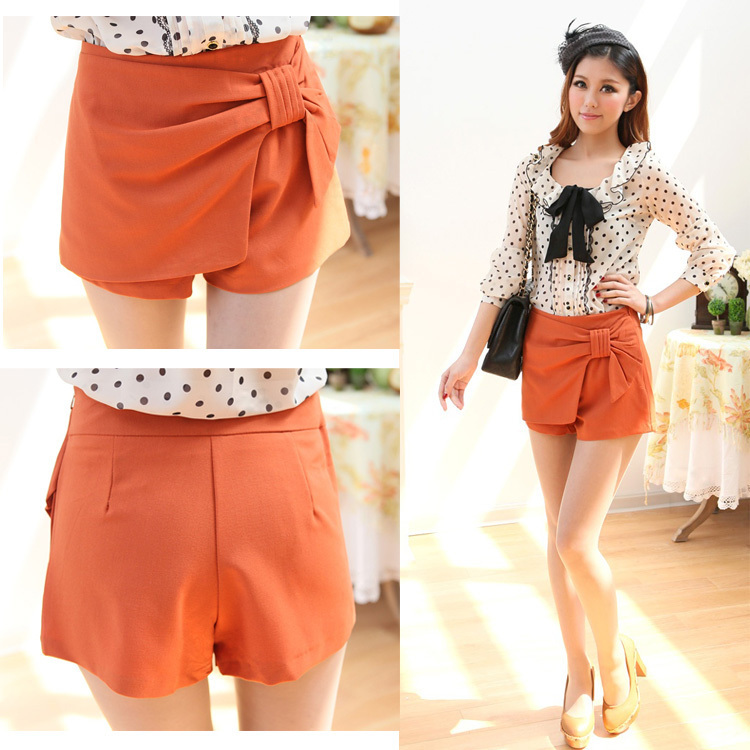 J6-4 spring and summer 2012 vintage gentlewomen all-match bow women's culottes shorts hot trousers
