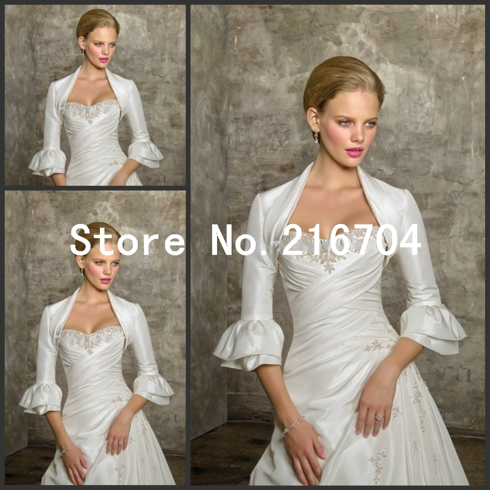 JAC120 Good Quality Ivory Layers Sleeves Mini Wedding Bridal Jacket