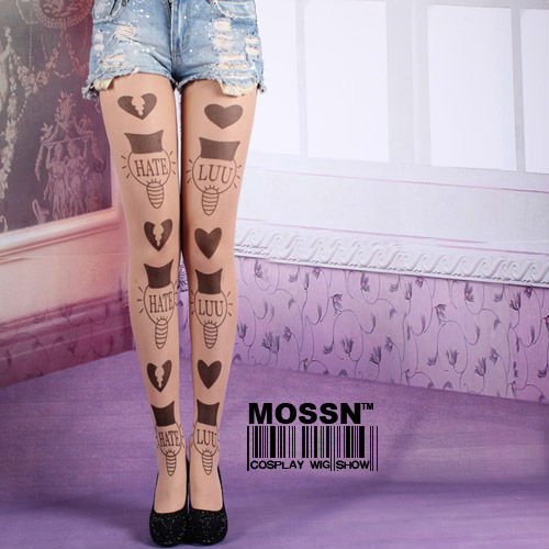 Japan harajuku Sexy Stylish Tatoo Pattern Sheer  thin  Pantyhose socks Stocking Tights Leggings